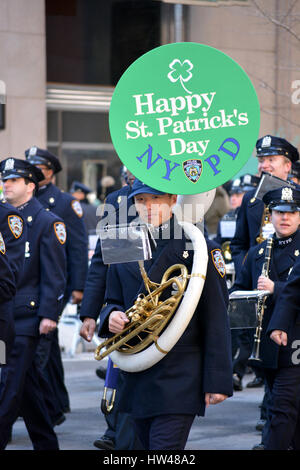 Manhattan, USA. 17th Mar, 2017. NYPD Marching band taking part in the New York City St. Patrick's Day Parade in - Stock Photo