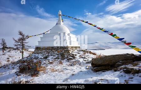 Enlightenment Stupa on island of Ogoy in early March. Irkutsk region. Olkhon area. Russia - Stock Photo