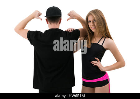 Young modern dance couple posing in studio - Stockfoto
