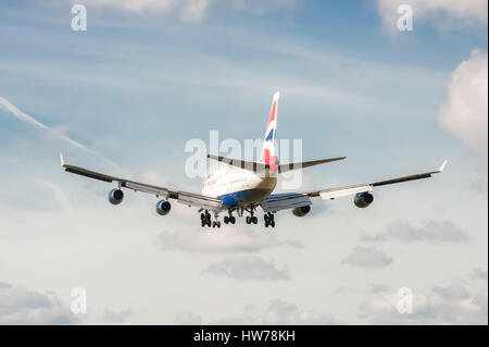 British Airways Boeing 747 on landing approach to London Heathrow Airport, UK - Stock Photo