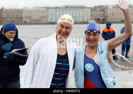 St. Petersburg, Russia, 18th March, 2017. President of International Winter Swimming Association Mariia Yrjo-Koskinen - Stock Photo