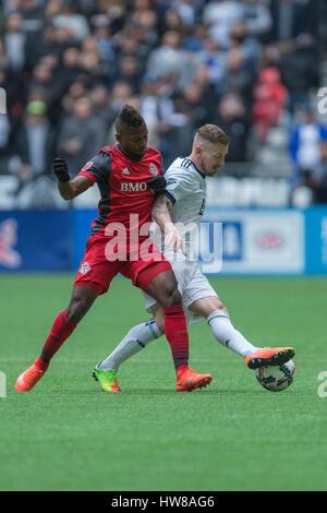 Vancouver, Canada. 18 March, 2017. Armando Cooper #31 of Toronto FC and Jordan Harvey #2 of Vancouver Whitecaps - Stock Photo