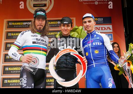 18 March 2017 108th Milano - Sanremo 1st : KWIATKOWSKI Michal (POL) Sky 2nd : SAGAN Peter (SVK) Bora - Hansgrohe - Stock Photo