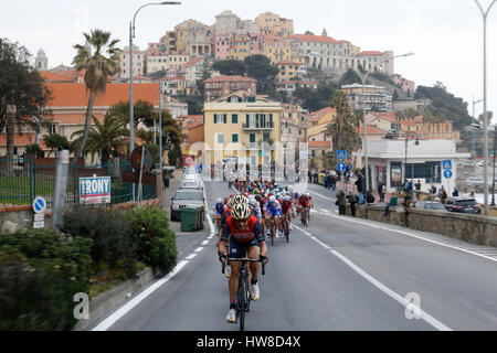 18 March 2017 108th Milano - Sanremo Peloton at Imperia  Photo: Cronos/Yuzuru Sunada - Stock Photo