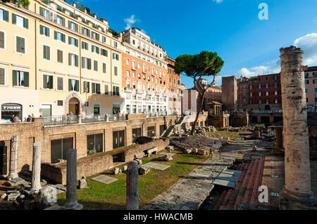 Italy, Latium, Rome, historical centre listed as World Heritage by UNESCO, Ruins of Roman temples at Area Sacra, - Stock Photo