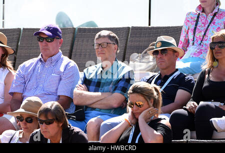 19 March, 2017: Microsoft CEO Bill Gates watches the women's finals during the BNP Paribas Open at Indian Wells - Stock Photo