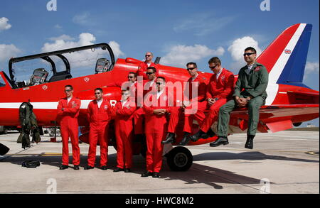The Royal Air Force Red Arrows in Malta - Stock Photo