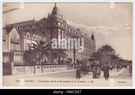 Hotel Carlton & Boulevard de la Croisette, Cannes, France - Stock Photo