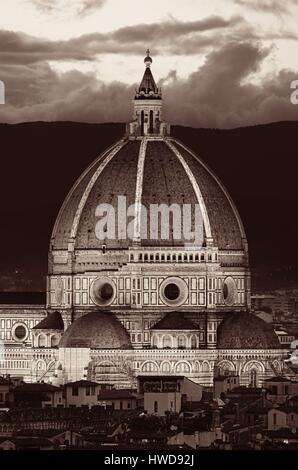 Duomo Santa Maria Del Fiore in Florence Italy dome closeup view at night - Stock Photo