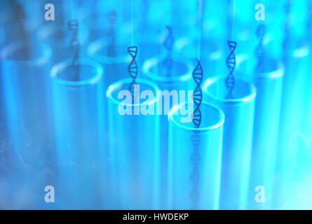 3D illustration. Several dna being withdrawn from the test tubes. Concept image of genetic cloning. - Stock Photo