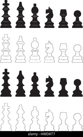 Set of different chess pieces isolated on white - Stock Photo