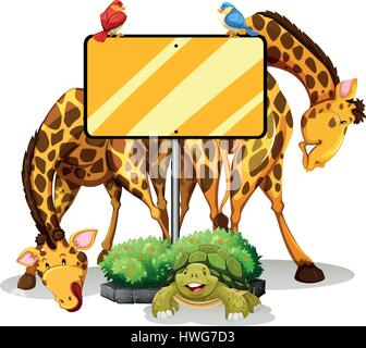 Sign template with two giraffes and birds illustration - Stock Photo