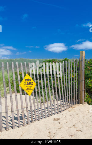 Closed trail near the famous walkway to the dunes.Sandwich, Cape Cod, Massachusetts, USA - Stock Photo