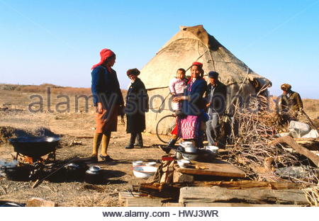 Asia, China, Gobi desert, nomad family tent - Stock Photo