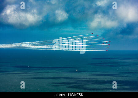 Royal Air Force Red Arrows performing display at Eastbourne Air Show 2015, East Sussex , UK - Stock Photo