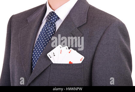 Businessman with playing cards in his pocket. - Stock Photo