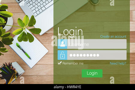 Close-up of login page against business desk with laptop and colors pencil - Stock Photo
