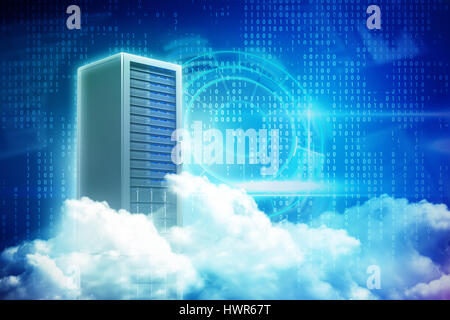 Scenic view of white fluffy clouds against server tower 3d - Stock Photo
