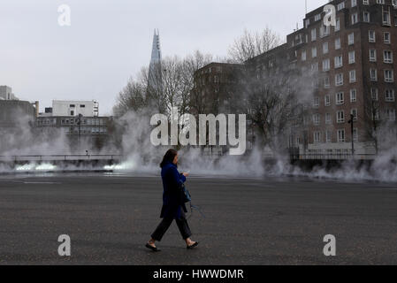 London, UK. 23rd Mar, 2017. Members of the public enjoy interacting with 'I try to let nature speak' by Fujiko Nakaya, - Stock Photo
