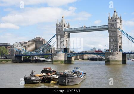 SOUTHWARK LONDON  ENGLAND  9 May 2015: Tower Bridge from south of thames - Stock Photo