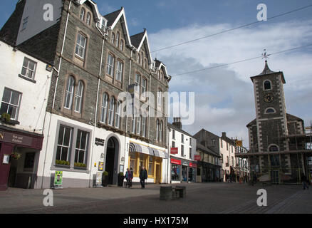 The Inn on the Square Hotel and The Moot Hall the Market Place Main Street Keswick The Lake District Cumbria England - Stock Photo