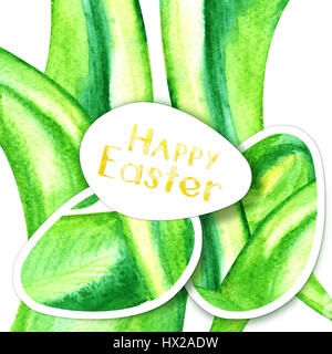 Happy Easter card with spring green - Stock Photo