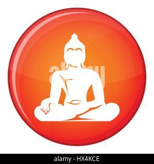 Statue of Buddha sitting in lotus pose icon - Stock Photo