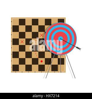 Tactic to goal. Bullseye arrow, professional vector illustration - Stock Photo
