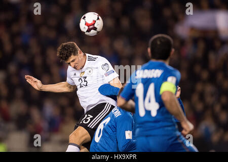 Baku, Azerbaijan. 26th Mar, 2017. Germany's Mario Gomez (L) scores the 3-1 goal during the FIFA World Cup qualifier - Stock Photo