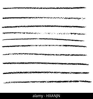 Vector chalked handmade lines. Chalk hand drawn strokes. Vector handdrawn illustration. - Stock Photo