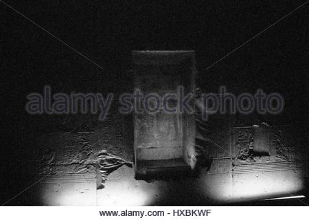 Abydos Egypt interior Temple infra red film B&W ghostly carvings monument white limestone, situated at the most - Stock Photo