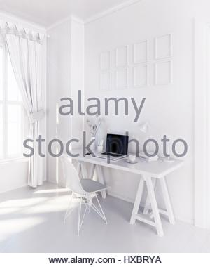 White modern room with  laptop computer on a desk,  home office workspace 3D illustration - Stock Photo