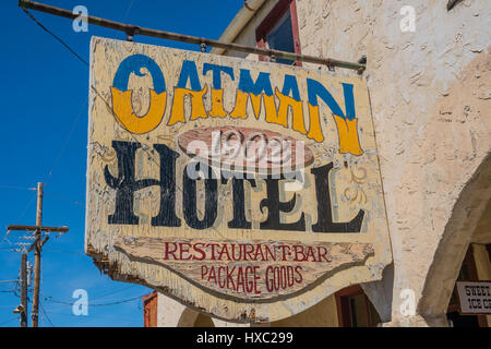 Oatman hotel sign in front of the historic, 1902, route 66 hotel. - Stock Photo