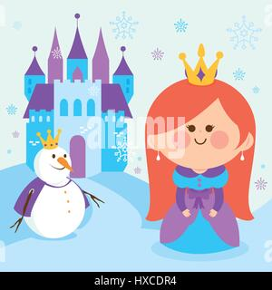 Cute princess in a snowy landscape with a castle and a snowman. - Stock Photo