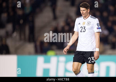 Baku, Azerbaijan. 26th Mar, 2017. Germany's Mario Gomez during the FIFA World Cup qualifier group phase soccer match - Stock Photo