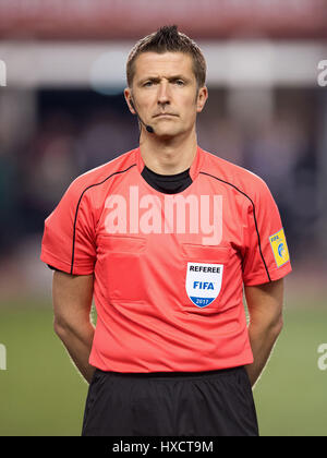 Baku, Azerbaijan. 26th Mar, 2017. Referee Daniele Orsato before the FIFA World Cup qualifier group phase soccer - Stock Photo