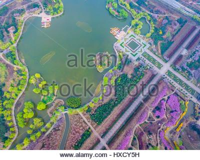The scenery of a botanic garden built on the ruins of Sui and Tang Dynasties castles garden full of flowers and - Stock Photo
