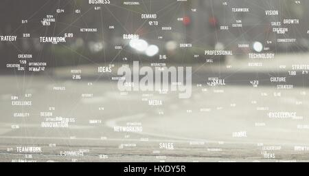 Digital composite of White network against blurry road - Stock Photo