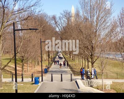 National Mall. Looking towards the Washington Monument from the Lincoln Memorial, Washington, DC in March. USA. - Stock Photo
