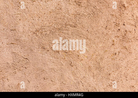 Full frame close-up of a adobe mud wall in New Mexico. The texture and straws are visible. - Stock Photo