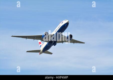 British Airways Boeing -777 passenger plane taking off from Heathrow London UK - Stock Photo