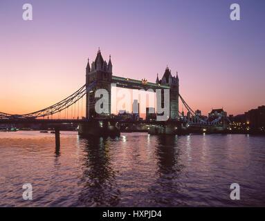 Tower Bridge and River Thames at dusk, London Borough of Southwark, Greater London, England, United Kingdom - Stock Photo