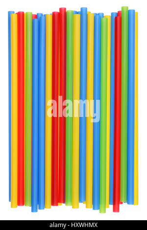 Heap of plastic multi-colored straws for cocktail with a diameter of eight millimeters. Isolated studio shot - Stockfoto