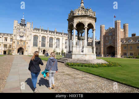 Trinity College Cambridge University - people walking in Great Court, Cambridge England, Cambridge UK - Stock Photo