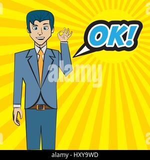comic man pop art ok bubble speech vector illustration eps 10 - Stock Photo