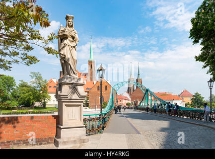 Poland, Wroclaw, Cityscape, church of the (holy) cross, Cathedral, Cathedral of St. John the Baptist, (Archikatedra - Stock Photo