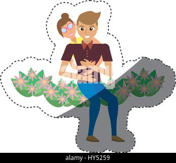 romantic couple sitting flower garden shadow vector illustration eps 10 - Stock Photo