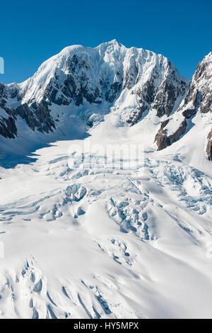 Mount Tasman glacier, Aoraki Mount Cook National Park, Southland, New Zealand - Stock Photo