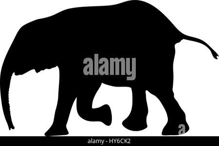 Silhouette of a small cute baby elephant - Stock Photo