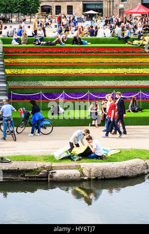 Flowers and artificial grass on the steps at Granary Square, King's Cross, London - Stock Photo